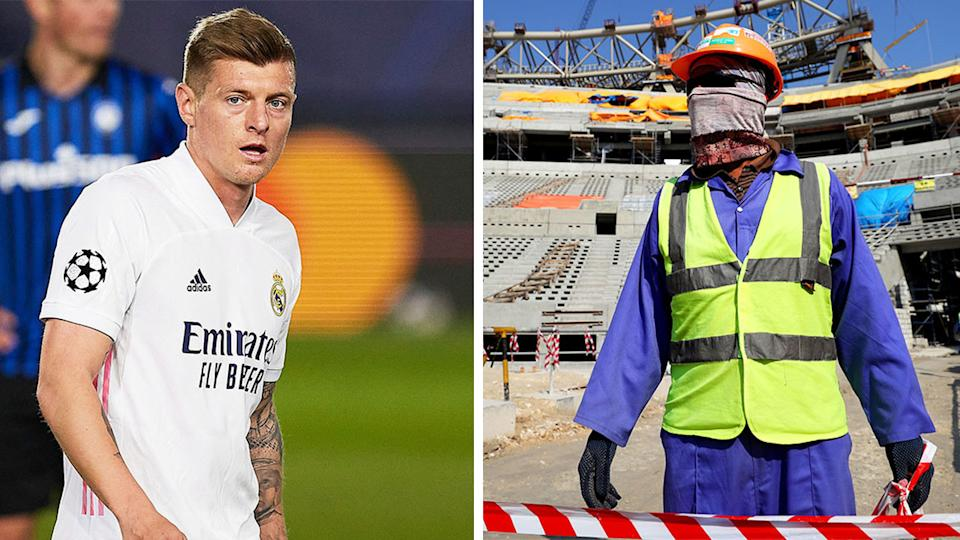 Toni Kroos (pictured left) during a Champions League match and a worker (pictured right) on the WC in Qatar.