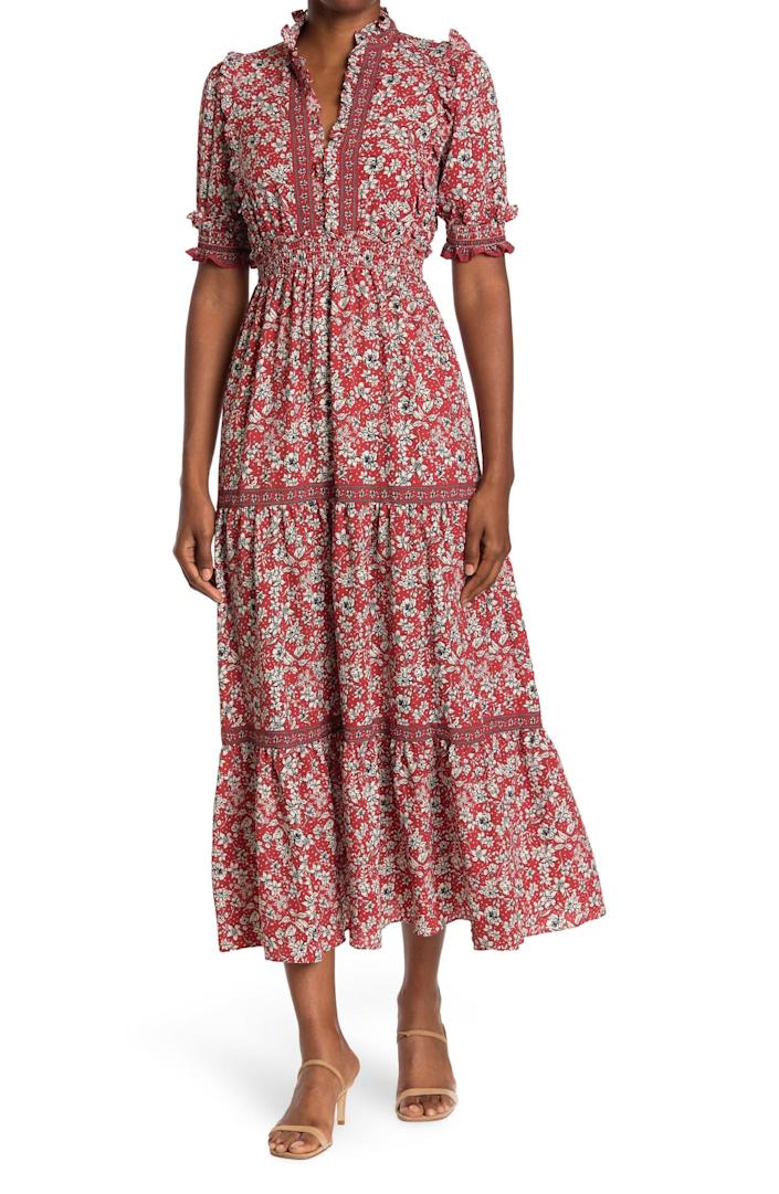"""<h2>Max Studio Print Tiered Maxi Dress</h2><br><strong><em>The Effortless Pick</em></strong><br><br>If you want a standout dress for fall that's also super easy to wear, consider this long, flowy option from Nordstrom Rack featuring a smocked waist and eye-catching print without any zippers or ties. <br><br><strong>The Hype: </strong>4 out of 5 stars; 241 reviews on Nordstromrack.com<br><br>What They're Saying: """"Great fit. Love the color. Flattering around [the] middle with just enough movement in [the] skirt for an ethereal look."""" — Meghan, Nordstrom Rack reviewer<br><br><em>Shop <strong><a href=""""https://www.nordstromrack.com/s/max-studio-elbow-length-sleeve-print-tiered-maxi-dress/6043768"""" rel=""""nofollow noopener"""" target=""""_blank"""" data-ylk=""""slk:Nordstrom Rack"""" class=""""link rapid-noclick-resp"""">Nordstrom Rack</a></strong></em><br><br><strong>Max Studio</strong> Elbow Length Sleeve Print Tiered Maxi Dress, $, available at <a href=""""https://go.skimresources.com/?id=30283X879131&url=https%3A%2F%2Fwww.nordstromrack.com%2Fs%2Fmax-studio-elbow-length-sleeve-print-tiered-maxi-dress%2F6043768"""" rel=""""nofollow noopener"""" target=""""_blank"""" data-ylk=""""slk:Nordstrom Rack"""" class=""""link rapid-noclick-resp"""">Nordstrom Rack</a>"""