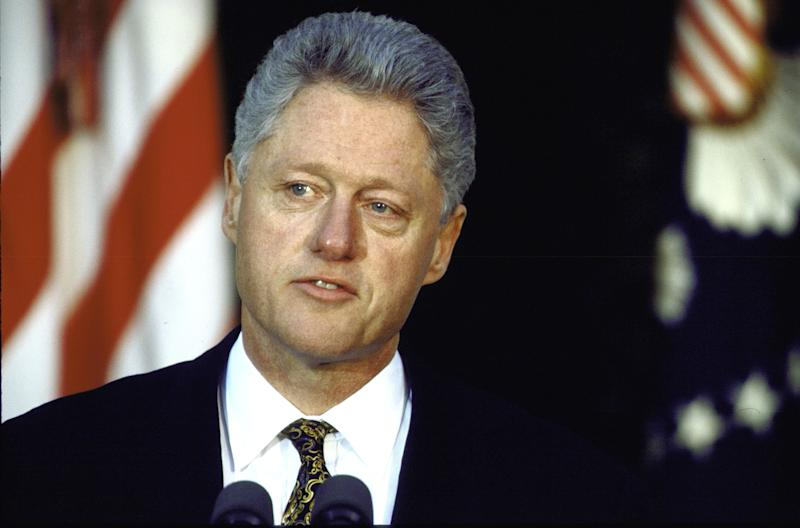 In a 1998 news conference in the White House Rose Garden, President Bill Clinton apologized for his sexual relationship with intern Monica Lewinsky.
