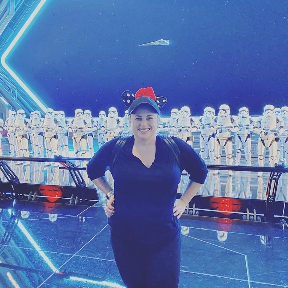 """Rise of the Resistance! Rebel scum unite!"" wrote the <em>Pitch Perfect</em> star, who visited the <em>Star Wars</em>-themed land at Disneyland over President's Day weekend, donning Minnie Mouse ears. ""This ride is sooooooo cool!"" <a href=""https://www.instagram.com/p/B8p56_rpIai/"">she continued</a>."