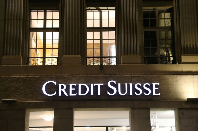 FILE PHOTO: The logo of Swiss bank Credit Suisse is seen in Bern