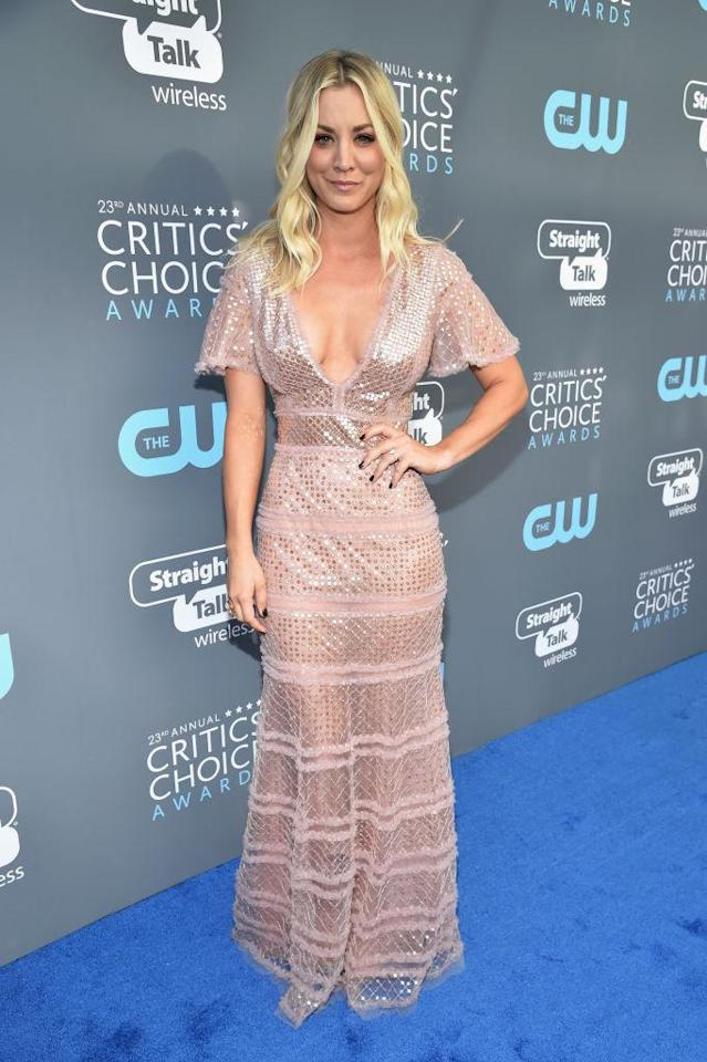 <p>Cuoco's light pink look was see-through on the bottom. (Photo: Getty Images) </p>
