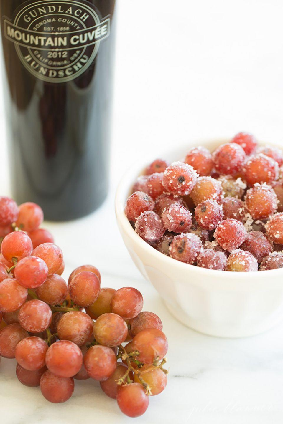 "<p><span class=""redactor-invisible-space"">A sweet, boozy dessert alternative for your Game Day table, you'll just need red wine, grapes, and sugar for this recipe.</span></p><p><strong>Get the recipe at <a href=""http://julieblanner.com/frozen-grapes-marinated-in-wine/"" rel=""nofollow noopener"" target=""_blank"" data-ylk=""slk:Julie Blanner"" class=""link rapid-noclick-resp"">Julie Blanner</a>. </strong></p>"