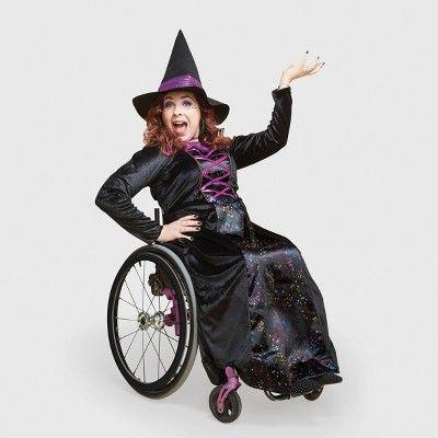 """<p><strong>Hyde & EEK! Boutique</strong></p><p>target.com</p><p><strong>$30.00</strong></p><p><a href=""""https://www.target.com/p/adult-adaptive-witch-halloween-costume-with-hat-hyde-eek-boutique/-/A-79786260"""" rel=""""nofollow noopener"""" target=""""_blank"""" data-ylk=""""slk:Shop Now"""" class=""""link rapid-noclick-resp"""">Shop Now</a></p><p>Target This sparkly black gown has openings in the back for easy dressing.</p>"""
