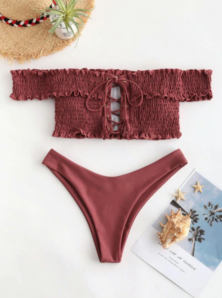 Shirred Lace-up Bardot Bikini Set in mahogany.