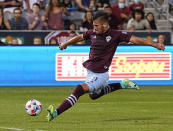 Colorado Rapids forward Diego Rubio (11) takes a shot on goal against Real Salt Lake during the first half of an MLS soccer match Saturday, Aug. 21, 2021, in Commerce City, Colo. (AP Photo/ Jack Dempsey)