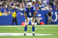 Indianapolis Colts kicker Adam Vinatieri (4) reacts after missing a field goal against the Oakland Raiders during the first half of an NFL football game in Indianapolis, Sunday, Sept. 29, 2019. (AP Photo/Doug McSchooler)