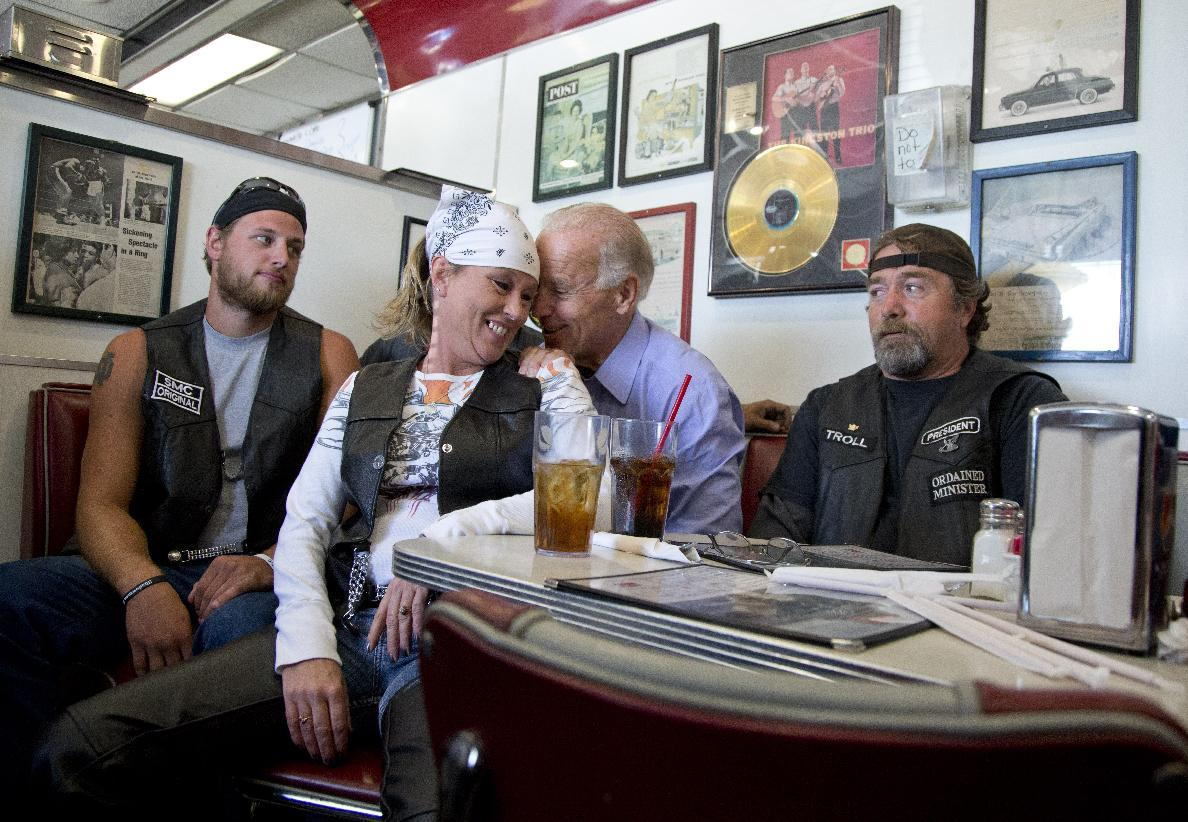 Joe Biden, Ladies Man  Joe Biden's a flirt. But a photo of  the candidate in a diner sharing a close moment with a woman in biker gear showed the candidate working his charm in surprising new ways.