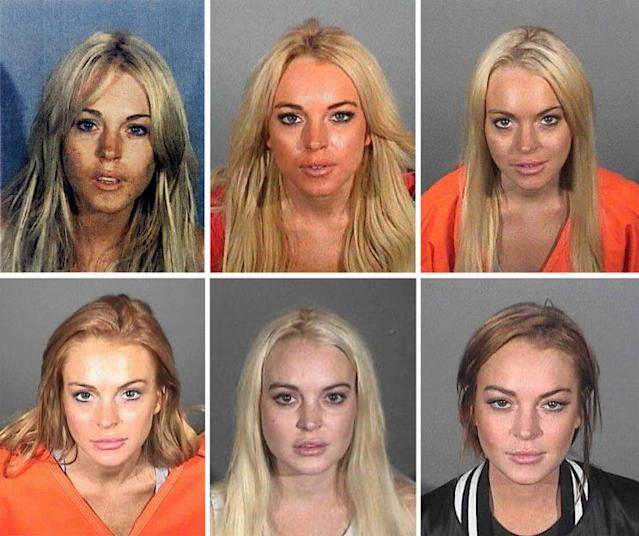 Lindsay Lohan's six booking photos. (Photo: Getty)