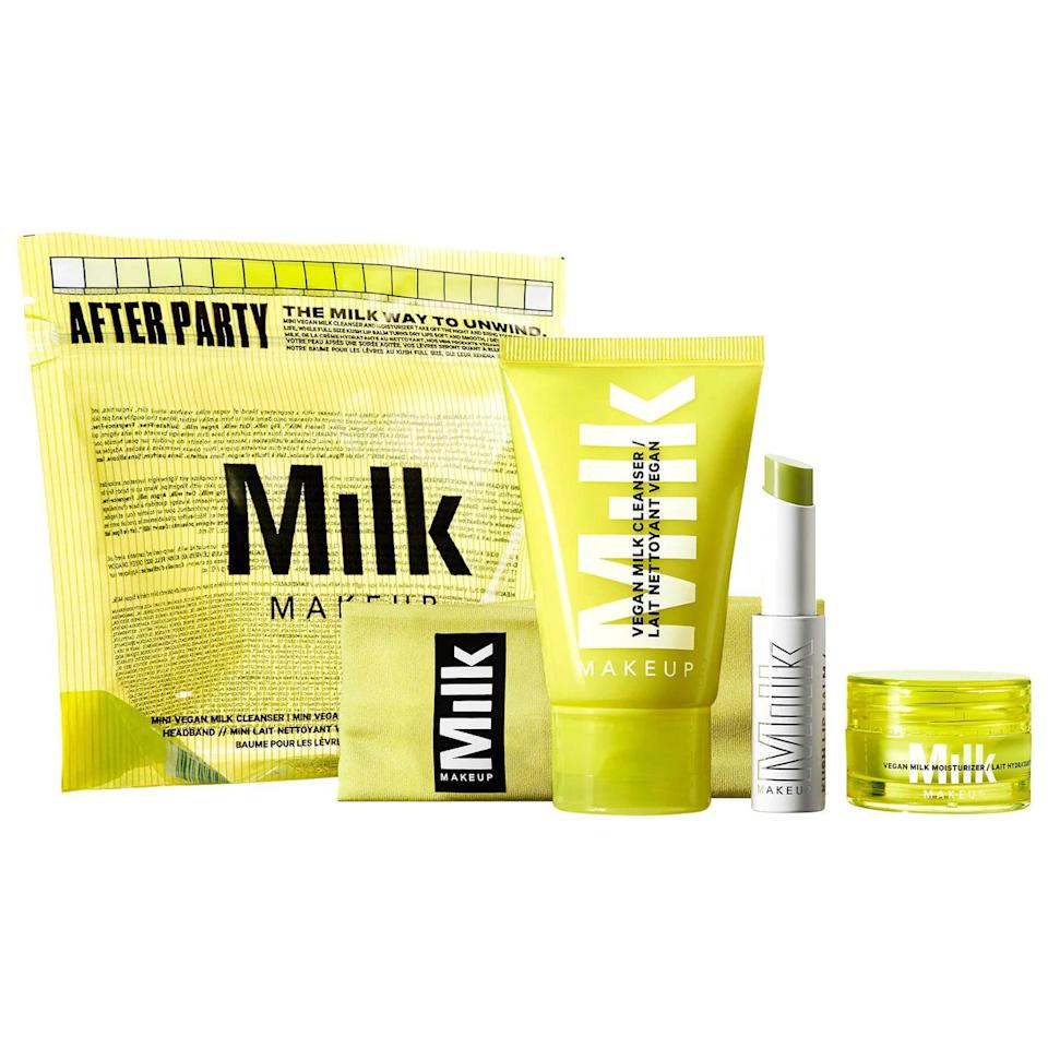 <p>Reset your skincare routine with the <span>Milk Makeup After Party Skincare Set</span> ($26, originally $32). It comes with a mini vegan milk cleanser and moisturizer, a full size KUSH lip balm, and cute headband.</p>