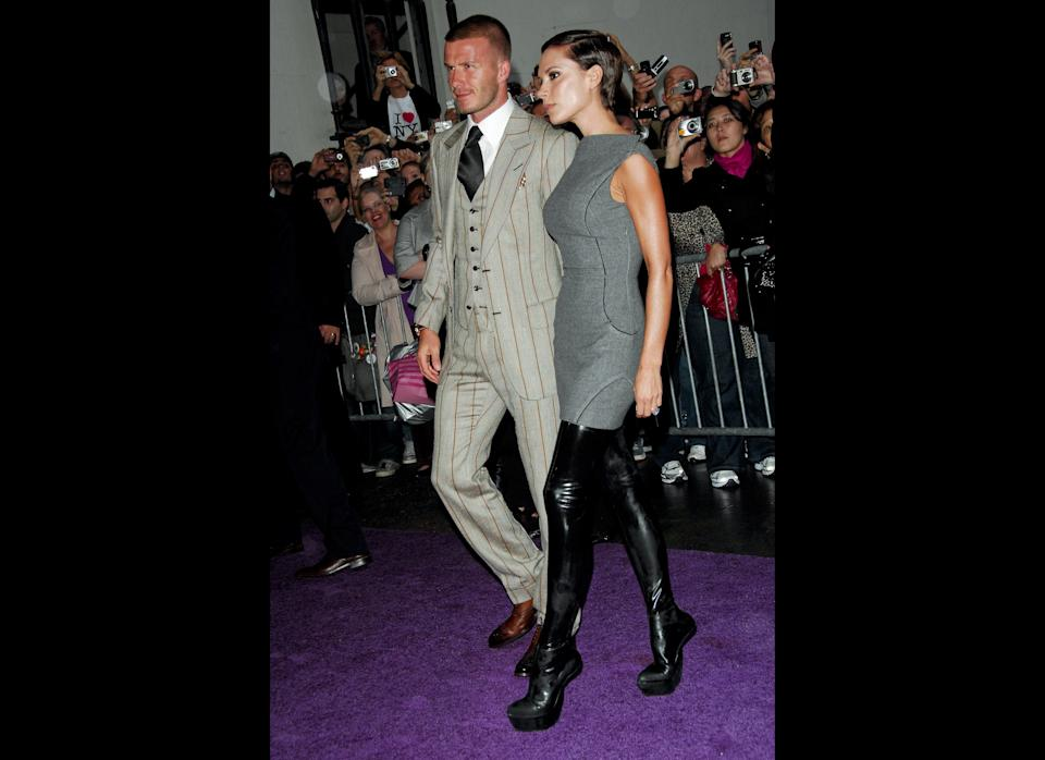 Posh's Antonio Berardi boots are sleek, but the lack of functionality makes them just silly. Luckily, David Beckham makes it all OK.     September 2008, New York City     Getty Images