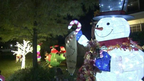 PHOTO: Claudia and Nick Simonis of San Antonio, Texas, displayed their holiday cheer one day after Halloween. Shortly after, they said, an inspector visited their home demanding they take them down. (ABC News)