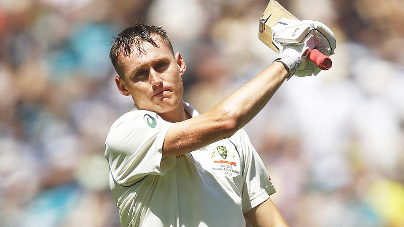 Marnus Labuschagne, pictured, was visibly angry with himself after being bowled by Colin de Grandhomme.