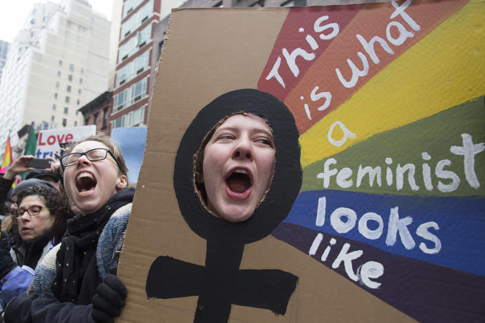 <p>Kate Weigel, right, of Brewer, Ma., cheers as participants start marching during a women's march in New York, Saturday, Jan. 21, 2017. (AP Photo/Mary Altaffer) </p>