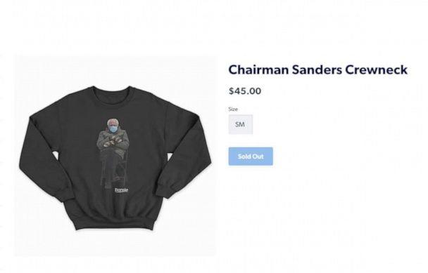 PHOTO: Merchandise featuring the photo of former presidential candidate, Sen. Bernie Sanders wearing mittens at Joe Biden presidential inauguration was sold out on the senator's campaign website. (BernieSanders.com )
