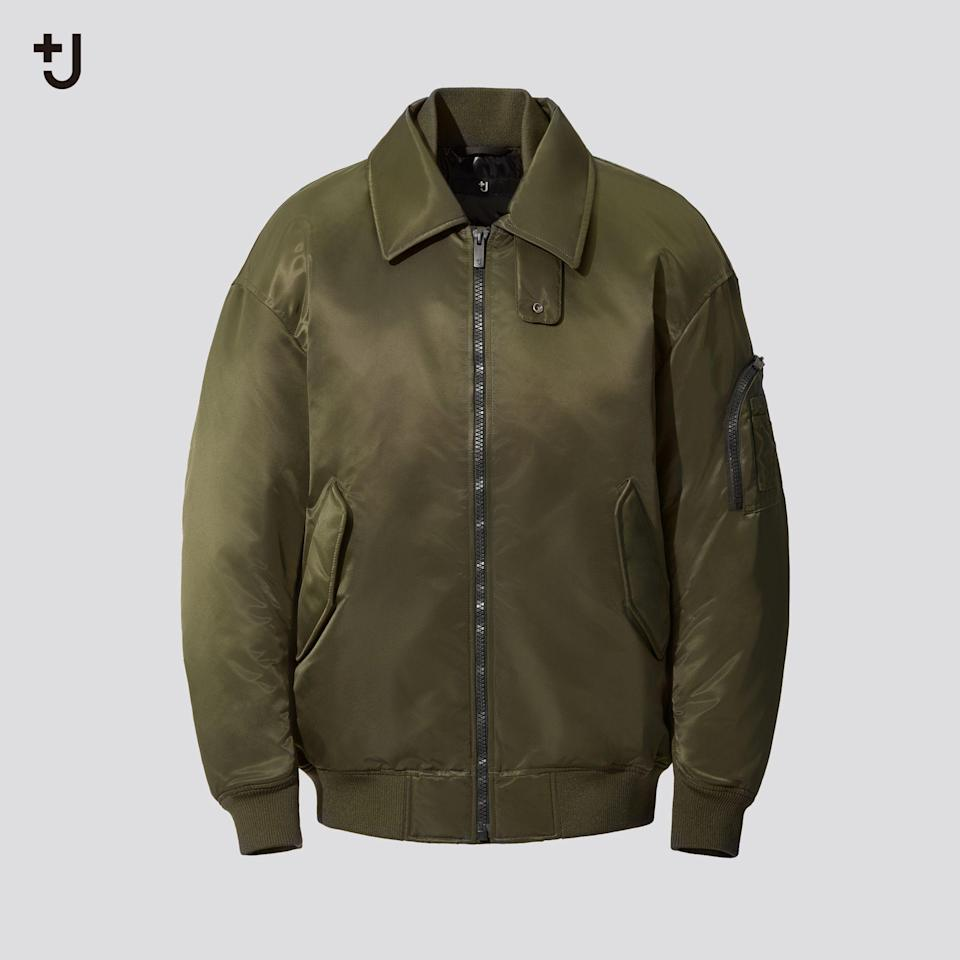 """<p><strong>Uniqlo</strong></p><p>uniqlo.com</p><p><strong>$159.90</strong></p><p><a href=""""https://go.redirectingat.com?id=74968X1596630&url=https%3A%2F%2Fwww.uniqlo.com%2Fus%2Fen%2Fmen-plusj-down-oversized-ribbed-blouson-432647.html&sref=https%3A%2F%2Fwww.esquire.com%2Fstyle%2Fmens-fashion%2Fg34654836%2Funiqlo-j-jil-sander-collaboration-2020%2F"""" rel=""""nofollow noopener"""" target=""""_blank"""" data-ylk=""""slk:Buy"""" class=""""link rapid-noclick-resp"""">Buy</a></p><p>Inspired by one of the most iconic military silhouettes of all time, and then stripped down to its most essential elements. </p>"""