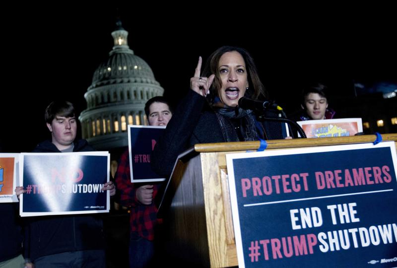 Sen. Kamala Harris D-Calif., speaks during a rally in support of the Deferred Action for Childhood Arrivals (DACA), and to avoid the government shut down on Capitol Hill, Friday, Jan. 19, 2018, in Washington. ( AP Photo/Jose Luis Magana)