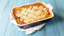 """<p>Are you noticing a pattern? That you don't need to have carbs to have fun? Happy Passover, everybody! </p><p>Get the recipe from <a href=""""https://www.delish.com/cooking/recipe-ideas/recipes/a48657/zucchini-lattice-lasagna-recipe/"""" rel=""""nofollow noopener"""" target=""""_blank"""" data-ylk=""""slk:Delish"""" class=""""link rapid-noclick-resp"""">Delish</a>.</p>"""