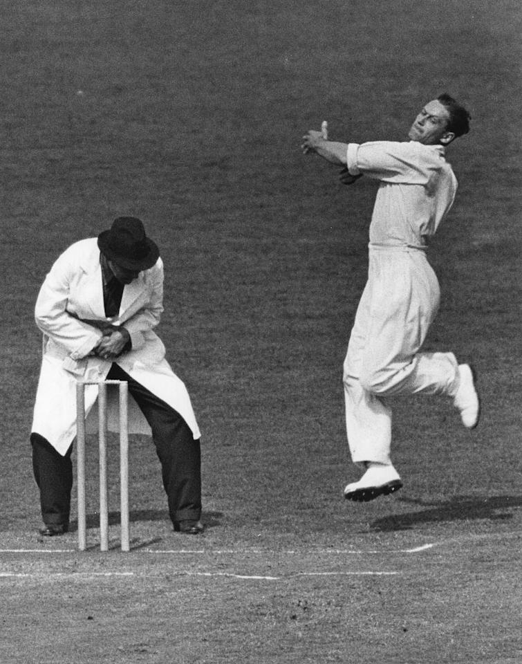 circa 1936: England (1930 - 1948) and Middlesex cricketer George Oswald Allen (1902 - 1989), known as Gubby Allen. Knighted for services to cricket in 1986. (Photo by Keystone/Getty Images)
