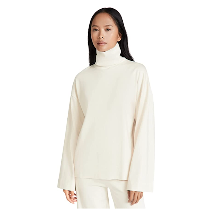 """This elevated basic deserves to be put in a heavy rotation: Besides being versatile enough to look good with just about anything, it also looks way more expensive than its $100 price tag. $100, Amazon. <a href=""""https://www.amazon.com/Ninety-Percent-Womens-Cotton-Sleeve/dp/B09D15WPJT"""" rel=""""nofollow noopener"""" target=""""_blank"""" data-ylk=""""slk:Get it now!"""" class=""""link rapid-noclick-resp"""">Get it now!</a>"""