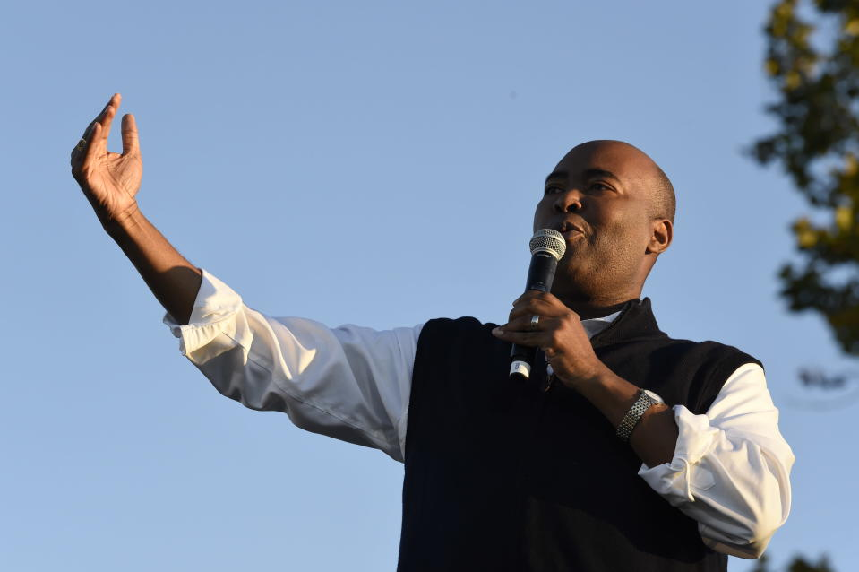 Democratic U.S. Senate candidate Jaime Harrison speaks at a campaign rally on Saturday, Oct. 17, 2020, in North Charleston, S.C. (AP Photo/Meg Kinnard)