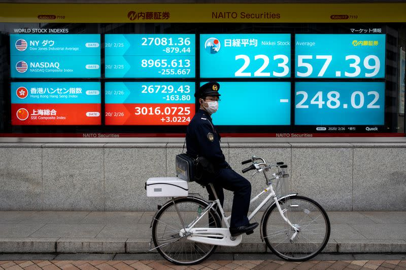 A police officer wearing a protective face mask stands with his bike in front of a screen showing the Nikkei index in Tokyo