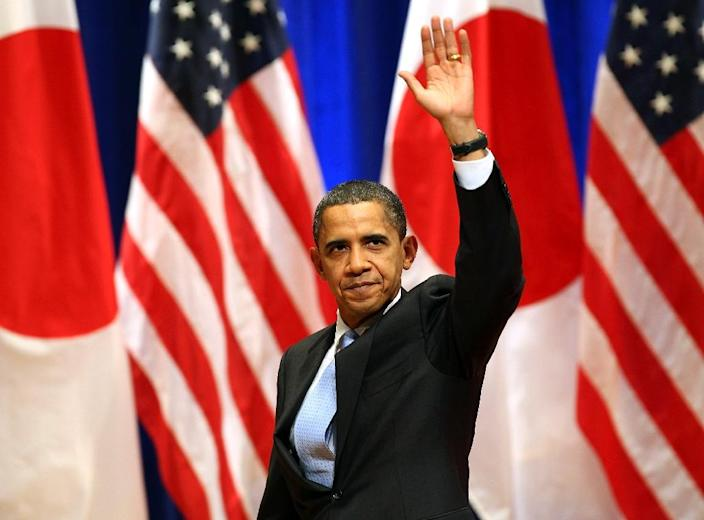 """US President Barack Obama, pictured in Tokyo on November 14, 2009, said """"As America's first Pacific president, I promise you that this Pacific nation will strengthen and sustain our leadership in this vitally important part of the world"""" (AFP Photo/Koichi Kamoshida)"""