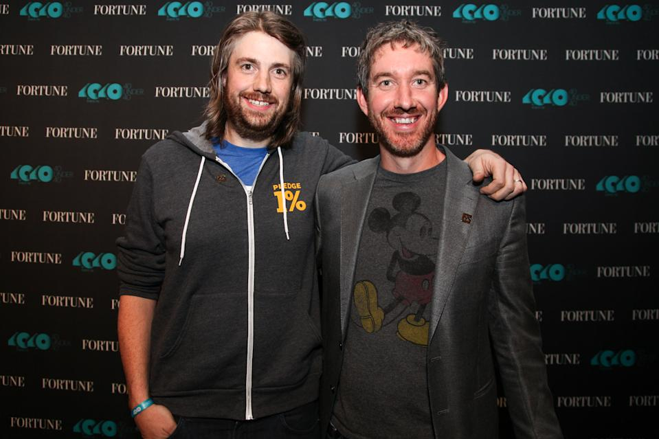 Mike Cannon-Brookes (L) and Scott Farquhar (R), co-founders and co-CEOs of Atlassian and 2016 honorees on Fortune's 40 Under 40 list, pose for a photo on October 13, 2016 in San Francisco, California.