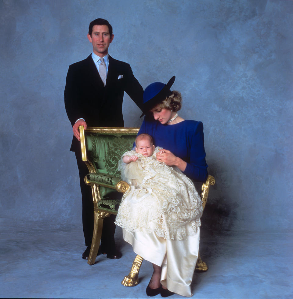 Prince Harry wore the original royal christening gown on 21 December 1984 [Photo: PA]