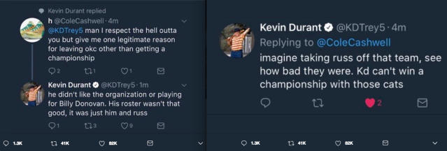 Screen grabs of Kevin Durant's tweets.