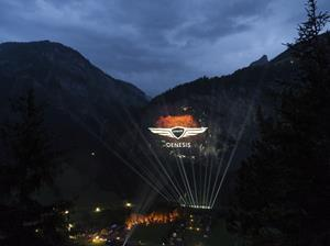 Images are projected over the Swiss Alps as part of a launch event for Genesis Motor Europe at Lauterbrunnen, Switzerland, on Tuesday, June 29th, 2021. Genesis Motor Europe has arrived in Europe with the largest ever 3D projection in the Swiss Alps, bringing their range of Korean premium luxury cars with them and setting their respectful customer service standards in stone. Genesis shakes up the automotive industry with its commitment to offer the upmost respect, stress-free ownership model and premium customer service offerings to customers.