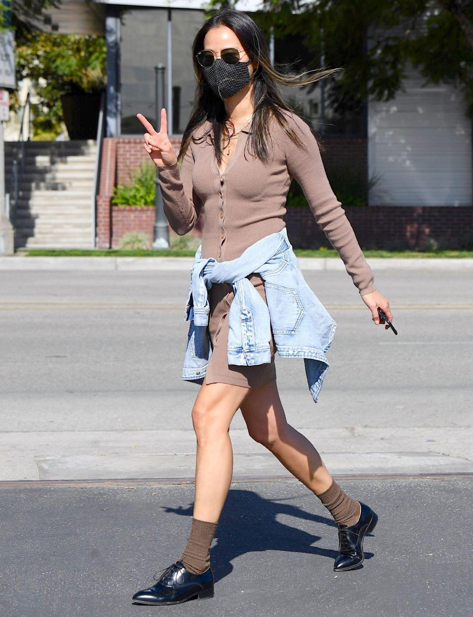 <p>Jamie Chung makes a style statement on Tuesday while out in Pasadena, California.</p>