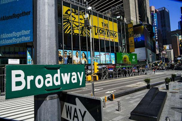 PHOTO: A Broadway sign is seen near the Theater District in Manhattan as theaters remain shuttered due to COVID-19 pandemic on May 13, 2020 in New York City. (Eduardo Munoz Alvarez/Getty Images)