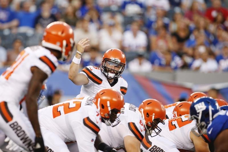 The Browns, with top overall pick Baker Mayfield (6), have looked good in both preseason games. (AP)