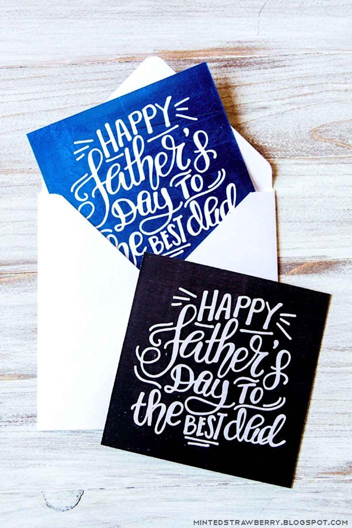 """<p>This chalkboard-inspired design will perfectly complement the awesome gift you're giving your dad. </p><p><em><strong>Get the printable at <a href=""""http://mintedstrawberry.blogspot.com/2016/06/free-printable-hand-lettered-chalkboard.html"""" rel=""""nofollow noopener"""" target=""""_blank"""" data-ylk=""""slk:Minted Strawberry"""" class=""""link rapid-noclick-resp"""">Minted Strawberry</a>.</strong></em></p>"""