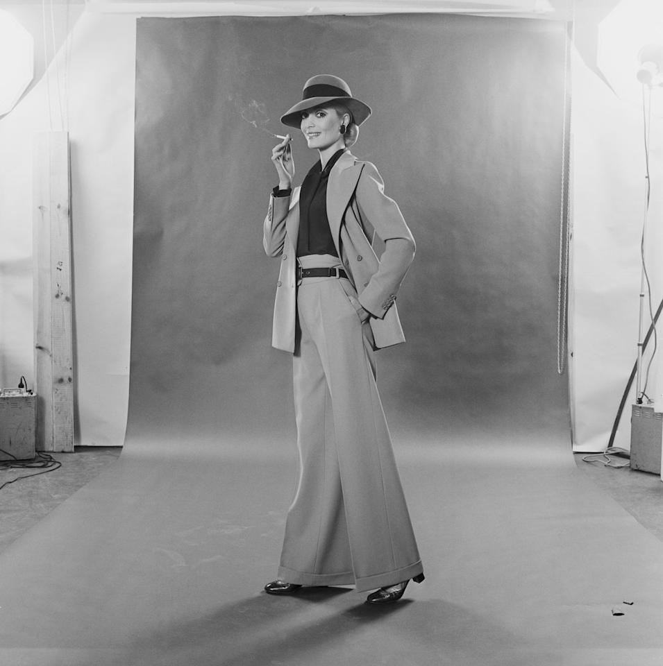 <p>A trouser suit by Yves Saint Laurent from February 1970.</p>