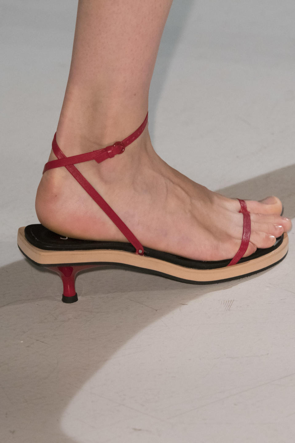 <p><i>Red-heeled sandals from the SS18 Joseph collection. (Photo: ImaxTree) </i></p>