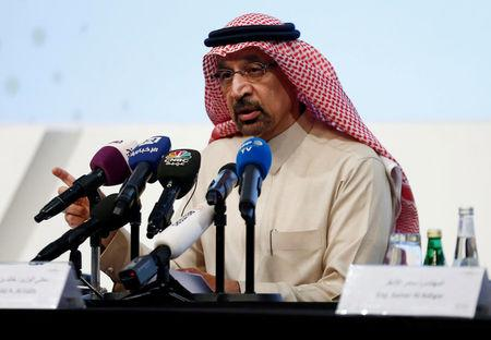 Khalid al Falih speaks during a news conference in Riyadh