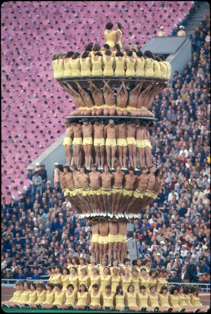 """<p>The United States led the boycott of the 1980 Summer Olympic. (65 countries in total wouldn't send athletes to the games.) Moscow would still put on the games, complete with an opening ceremony that included an unusual human display of the """"Olympic torch.""""</p>"""