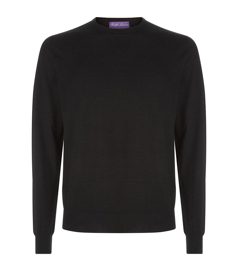 """<p>Knitted from the finest Italian cashmere, this Ralph Lauren jumper is ultra-soft to touch and will look good on him inside the home and out. The round neckline and ribbed trim also allows for layering without compromising on sophistication, too – a perfect addition to any back-to-work wardrobe. </p><p>£665, <a href=""""https://www.harrods.com/en-gb/shopping/ralph-lauren-purple-label-cashmere-sweater-16191020"""" rel=""""nofollow noopener"""" target=""""_blank"""" data-ylk=""""slk:Ralph Lauren"""" class=""""link rapid-noclick-resp"""">Ralph Lauren</a>.</p>"""