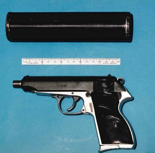 The gun and silencer found in the suspected killer's car