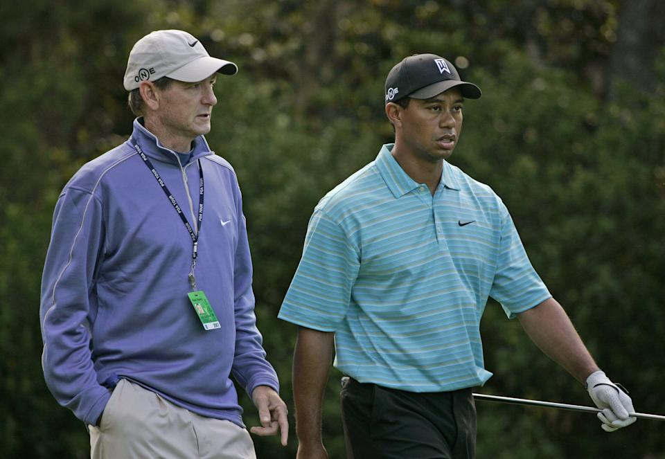 Tiger Woods and swing coach Hank Haney during a practice round for THE PLAYERS Championship held on THE PLAYERS Stadium Course at TPC Sawgrass in Ponte Vedra Beach, Florida, on May 8, 2007. Photo by: Chris Condon/PGA TOUR (Photo by Chris Condon/PGA)