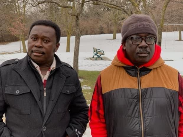 Mensah's uncles, William Owusu, left, and Stephen Boakye, were the only family members he had in Canada.