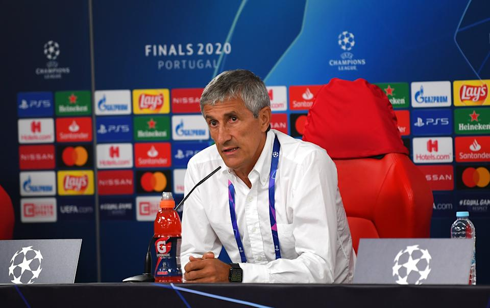 LISBON, PORTUGAL - AUGUST 14: Quique Setien, Head Coach of FC Barcelona speaks to media during a press conference following the UEFA Champions League Quarter Final match between Barcelona and Bayern Munich at Estadio do Sport Lisboa e Benfica on August 14, 2020 in Lisbon, Portugal. (Photo by UEFA Handout/UEFA via Getty Images)