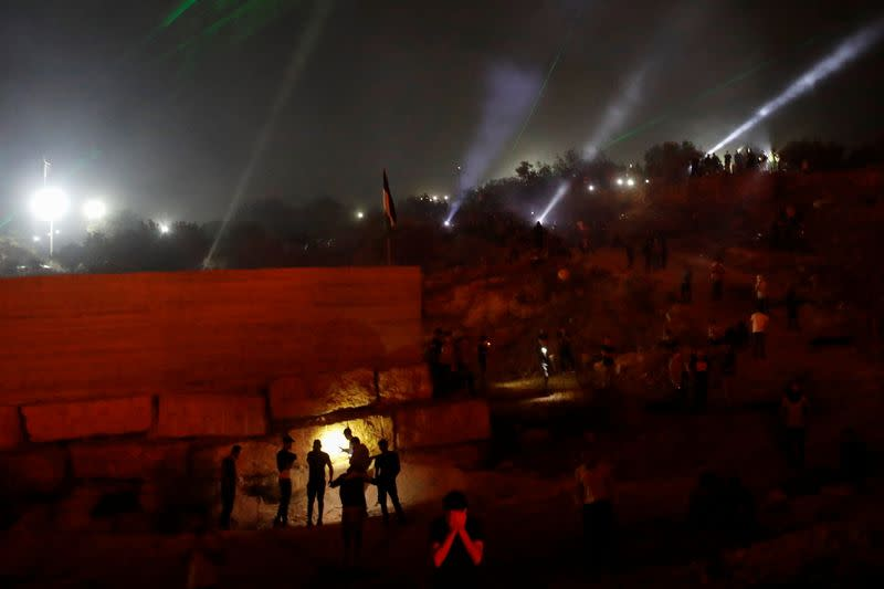 Anti-Israeli settlements night protest in West Bank