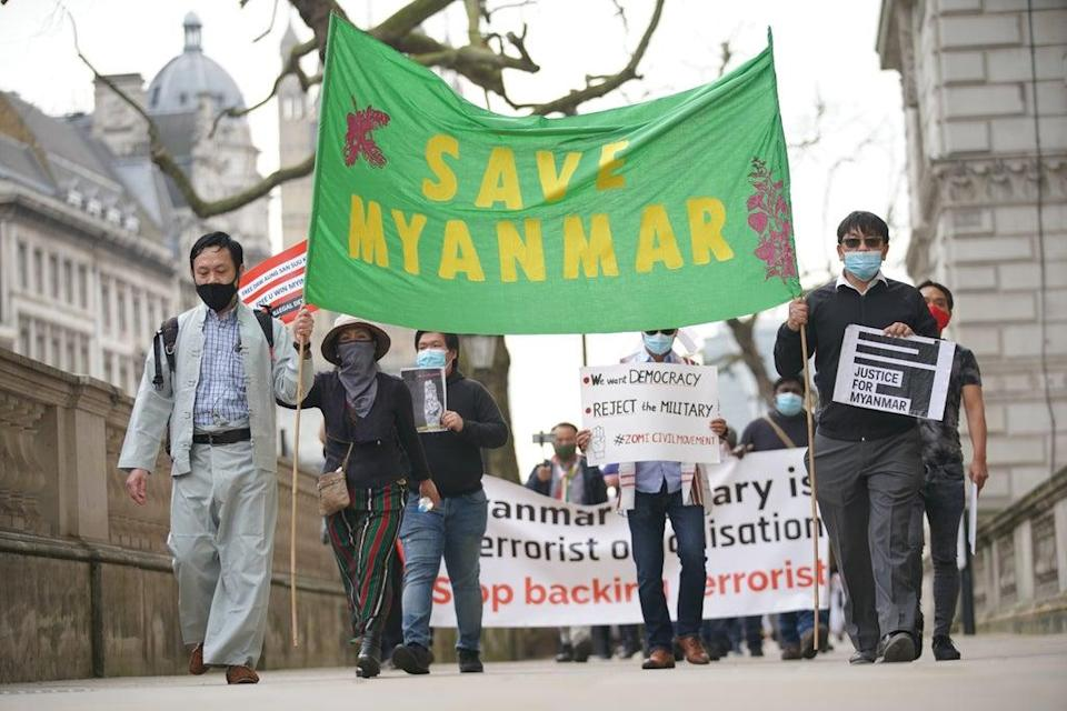 Myanmar, which has sent police to receive training in the UK, has been accused of human rights abuses by protesters across the world (Aaron Chown/PA) (PA Wire)
