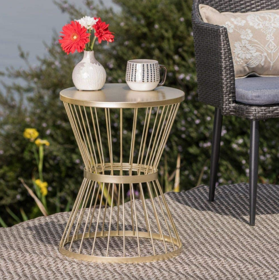 Great Deal Furniture Outdoor Iron Side Table in Matte Gold (Photo via Amazon)