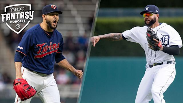 Scott Pianowski is joined by Paul Sporer of Fangraphs and ESPN to discuss the Minnesota Twins and Detroit Tigers on the Yahoo Fantasy Baseball Podcast. (Photo by Brace Hemmelgarn/Minnesota Twins/Getty Images; Duane Burleson/Getty Images)