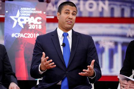 Chairman of the Federal Communications Commission Ajit Pai speaks at the Conservative Political Action Conference (CPAC) at National Harbor, Maryland, U.S., February 23, 2018.      REUTERS/Joshua Roberts