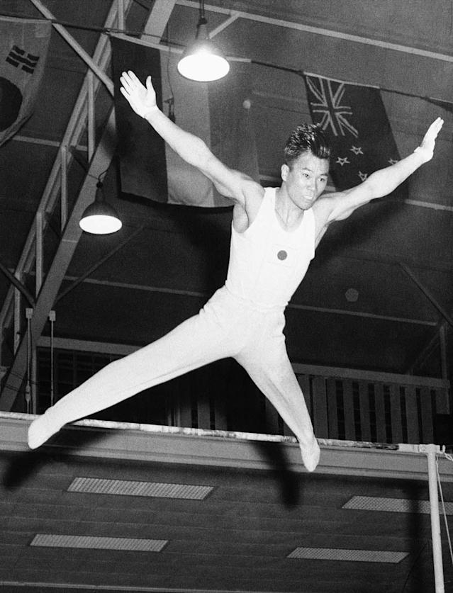 Japanese gymnast Takashi Ono seen in action at the 1960 Summer Olympics in Rome, Italy. (AP Photo)